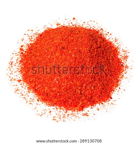 Pile of red chili pepper isolated on white. - stock photo