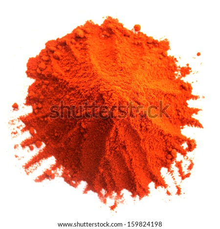 Pile of red powder isolated on white - stock photo