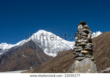 Pile of religious stones in the Langtang valley of Nepal