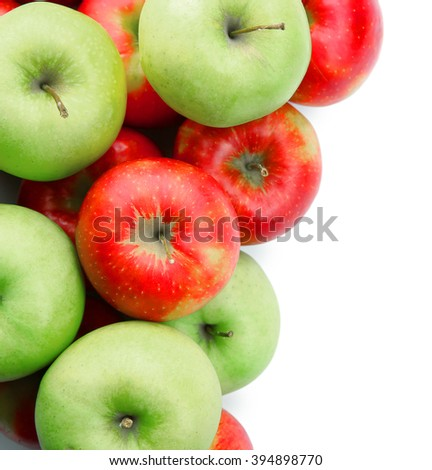 Pile of ripe juicy apples isolated on white background - stock photo