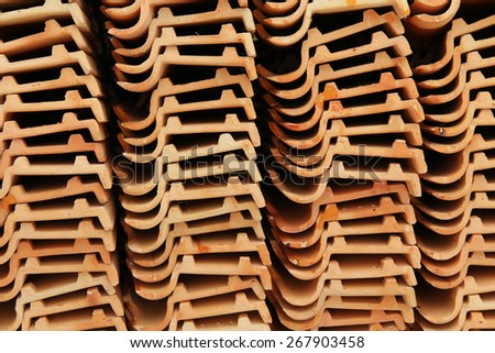 Pile of roof tiles stack in temple, Thailand