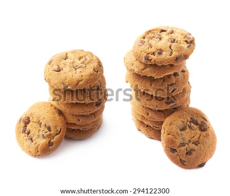 Pile of round cookies with the pieces of chocolate isolated over the white background, set of two different foreshortenings