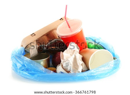 pile of rubbish, isolated on white - stock photo