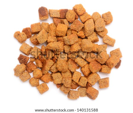 pile of rye croutons isolated on white