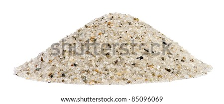 Pile of sand quartz mix with rock granular isolated on white background - stock photo