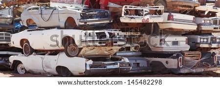 Pile of scrap cars - stock photo