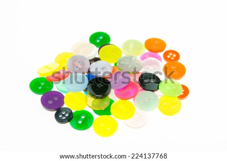 Pile of sewing buttons isolated on white  - stock photo