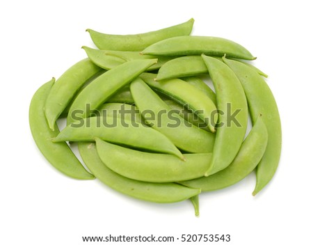 Pile of snap peas isolated white background
