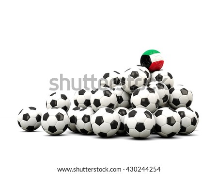 Pile of soccer balls with flag of kuwait. 3D illustration - stock photo