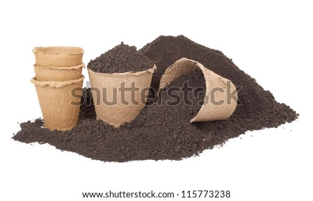Pile of soil and peat pots