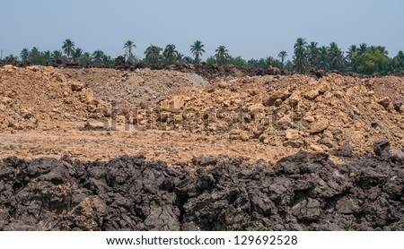 Pile of soil for construction - stock photo