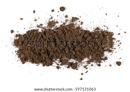 Pile of soil isolated on white background, top view