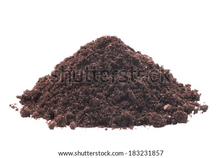Pile of soil on the white isolated background