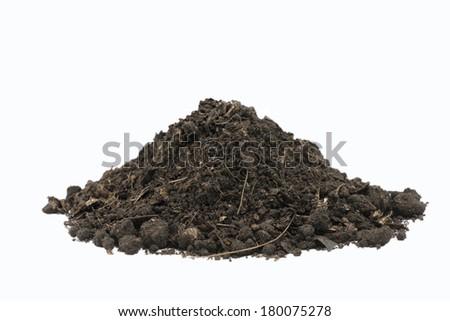 pile of soil on white background - stock photo