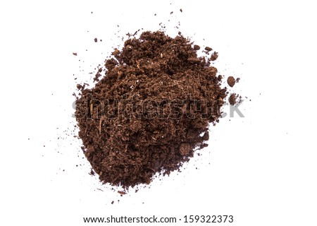 Pile of soil, top view, isolated on white background.
