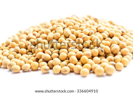 pile of soybeans on white background
