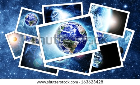 pile of  space pictures. Elements of this image furnished by NASA  - stock photo