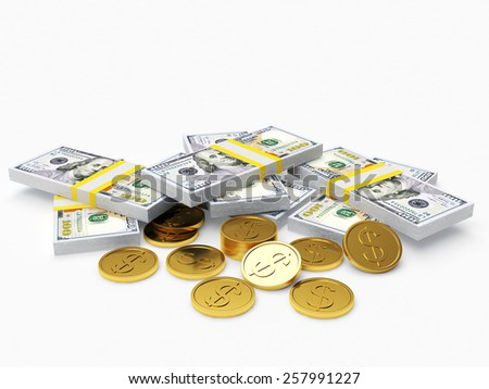 Pile of stack of dollar bills and gold coins isolated on white background