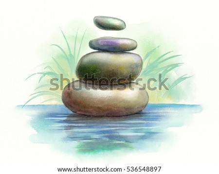 Pile of stones floating over a water surface. Original watercolor.
