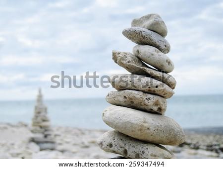 pile of stones on the beach - stock photo