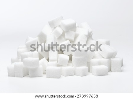 Pile of Sugar Cube's isolated on white