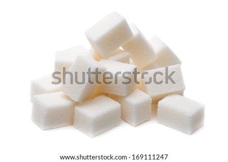 Pile of Sugar lumps, isolated on a white background.