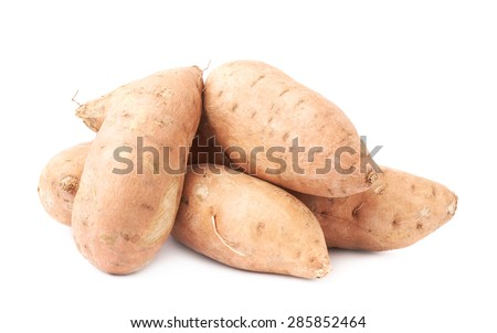 Pile of sweet potato or Ipomoea batatas plants isolated over the white background - stock photo