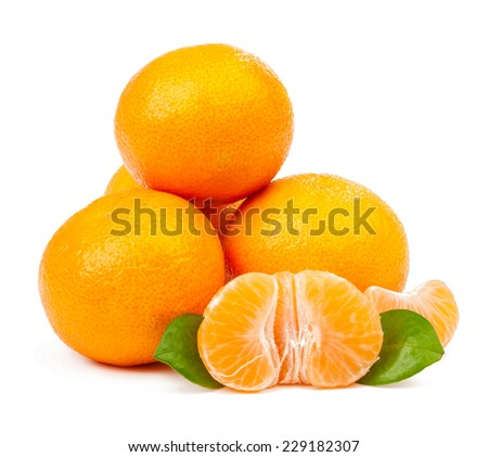 pile of tangerine and one peeled with leaves isolated on white background