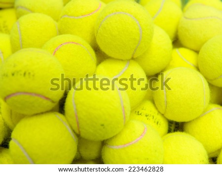 Pile of tennis balls in a basket - stock photo