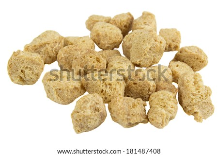 Pile of Textured Soy Protein (Soy Meat) Isolated on White Background  - stock photo