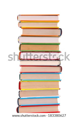 Pile of the Books Isolated on the White Background