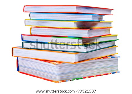 Pile of the bright color books isolated on white background