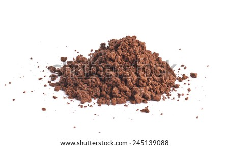 Pile of the brown ground soil isolated over the white background - stock photo