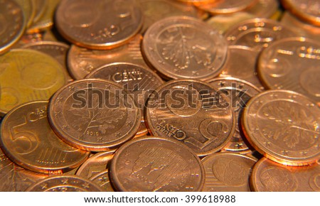 Pile of the euro cent coins
