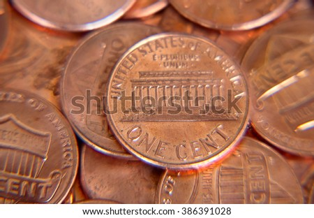 Pile of the US coins with shallow depth of field - stock photo