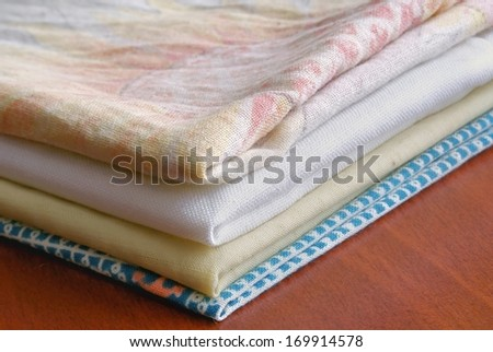 Pile of the washed linen - stock photo