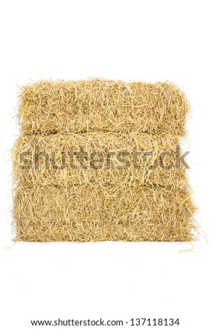 Pile of three layers straw hay isolate on white background - stock photo