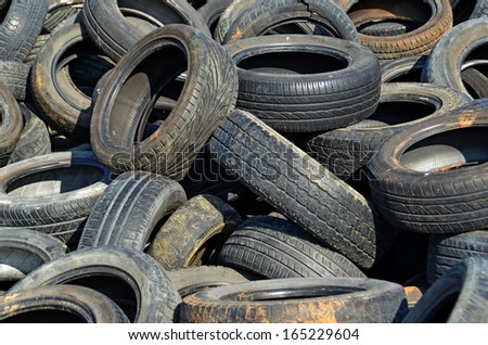 pile of tires pollution - stock photo