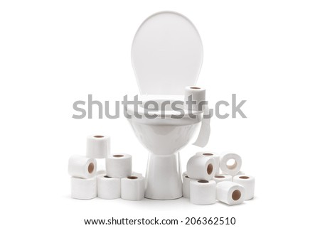 Pile of toilet paper around a toilet bowl isolated on white background - stock photo