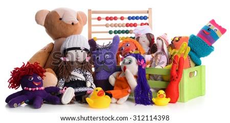 Pile of toys isolated on white - stock photo
