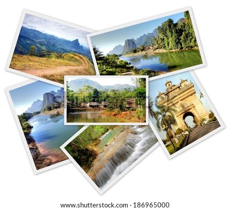 pile of travel photo's from the asian country Laos isolated on white  - stock photo