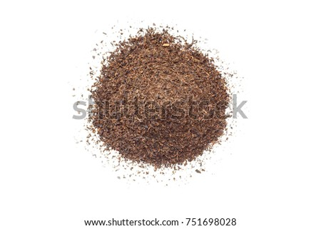 Pile of Turkish dry black tea. Isolated on white background selective focus