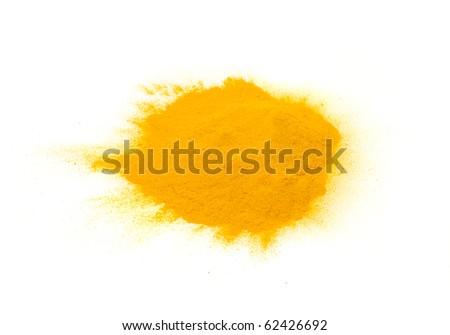 Pile of Turmeric (Curcuma) Powder Isolated on White Background - stock photo