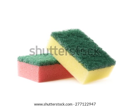 Pile of two colorful dish washing kitchen sponges isolated over the white background