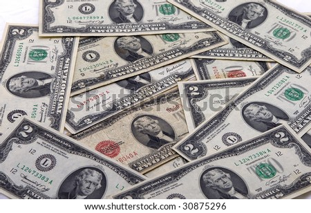 Pile of two dollar bills - stock photo