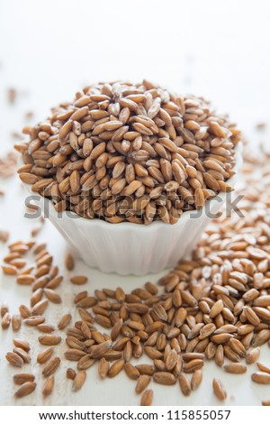 Pile of uncooked raw spelt in a small bowl
