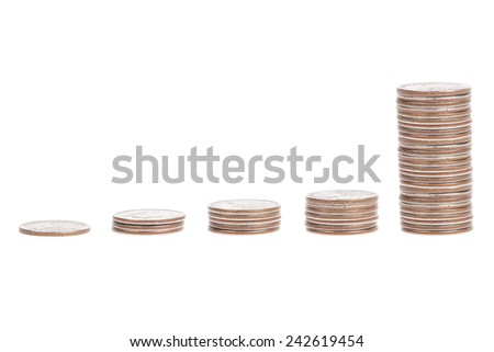 Pile of US coins isolated on white background - stock photo
