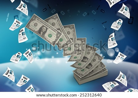 pile of US federal reserve notes   - stock photo