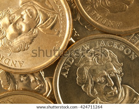 Pile of US Gold Presidential Dollar Featuring Andrew Jackson - stock photo