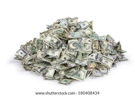 Pile of US money - stock photo